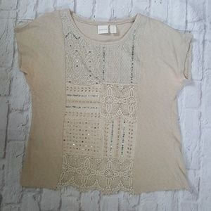 Chicos Lace Crocheted Embellished Top